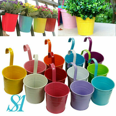 12x Garden Metal Flower Pots Wall Hanging Tin Basket Bucket Plant Herb Planter • 13.25£