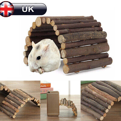Natural Wooden Bridge Hamster House Ladder Gerbil Guinea Pig Mice Climb Toy UK • 4.89£