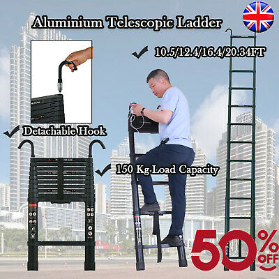 £29.29 • Buy Telescopic Loft Ladder 3.2M-6M Extendable Collapsible Step Ladders Securing Bolt