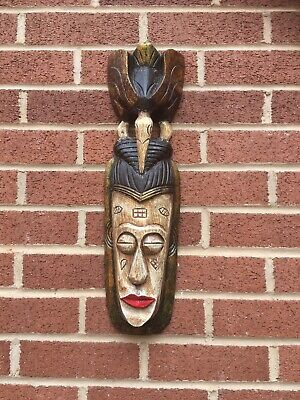 ChiselCraft Large 50cm Hand Carved Maori Wooden Hanging Tiki Mask Tribal Art D • 11.99£