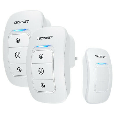 TeckNet Wireless Door Bell, 32 Chimes Twin Plug-in Home Cordless Door Chime Kit • 14.99£
