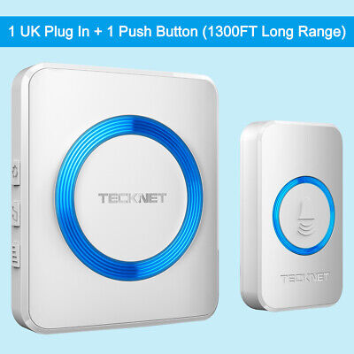 TeckNet Wireless Waterproof Doorbell Wall Plug-in Cordless Door Chime Kit 1000ft • 10.99£