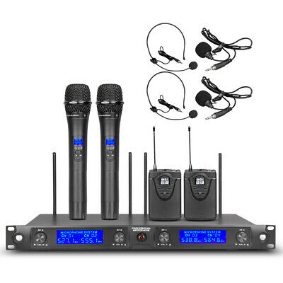 Wireless Microphone System UHF 4 Channel 2 Handheld Dynamic Lapel Mic 2 Headset • 119£