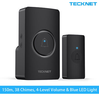 TeckNet Wireless Door Bell Waterproof Cordless UK Plug-in Door Chime Kit 492ft • 10.99£