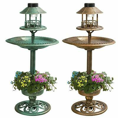 Bird Hotel Feeder & Bath With Solar Light Garden Ornamental Birds Table Station • 20.95£