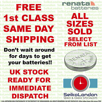 Renata Silver Oxide Watch Battery 1.55v ALL SIZES OF WATCH BATTERIES - FAST!! • 1.89£