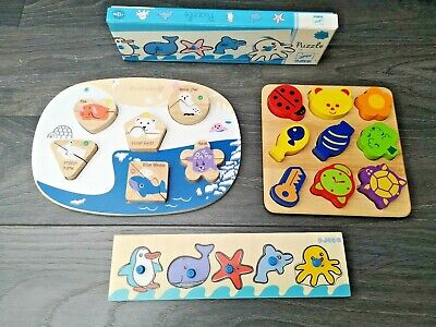 Wooden Puzzle Bundle Of 3  Incl. Djeco ,Everearth And Pintoy • 14.99£