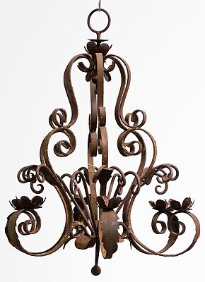 Antique 19th Century Large Wrought Iron Candle Chandelier - Lichen Patina • 395£