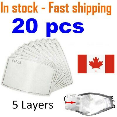 $ CDN14.99 • Buy 20 PCS PM2.5 Face Mask Filter - Activated Carbon Filters Replacement 5 Layers