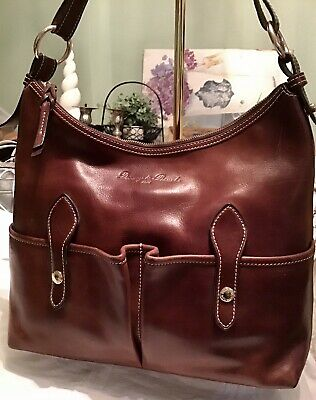 $175 • Buy Dooney Bourke Florentine Vachetta Leather LUCY Hobo Tote Sac Bag Chestnut Brown