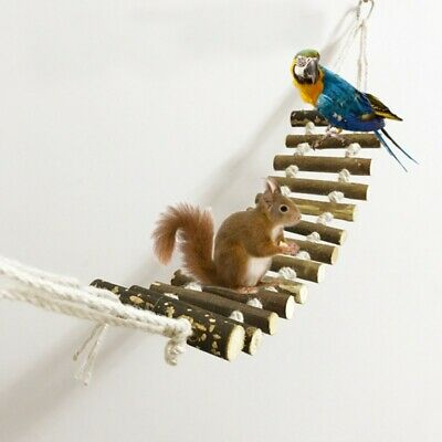 Bird Wooden Ladder Mouse Hamster Crawling Swing Bridge Pet Parrot Hanging Toy • 9.19£