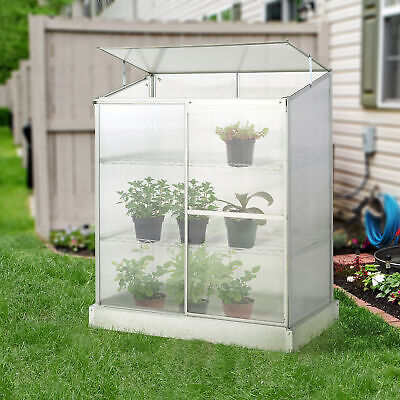 Outsunny 3-Tier Greenhouse Cold Frame Plant Grow Aluminium Frame W/ Roof Door • 124.99£