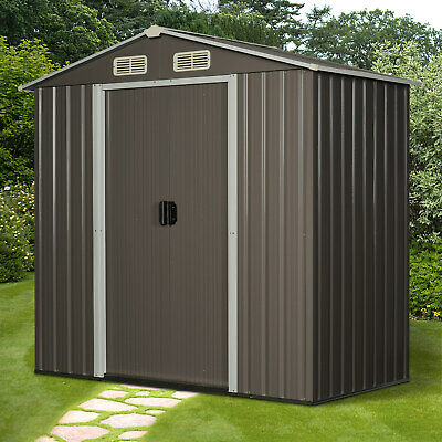 Outsunny 6x4ft Corrugated Metal Garden Storage Shed W/Sliding Door Roof - Grey • 249.99£