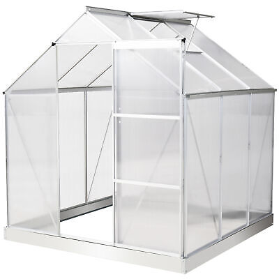 Outsunny 6x6FT Walk-In Greenhouse Polycarb Panels Aluminium Frame W/Sliding Door • 249.99£