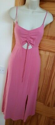 New Topshop Pink Ruched Front Size 12 Midi Dress Strappy Cami • 9.95£