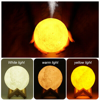 AU23.95 • Buy 3D LED Night Light Moon Lamp 3 Color With Air Humidifier Oill Diffuser USB Home