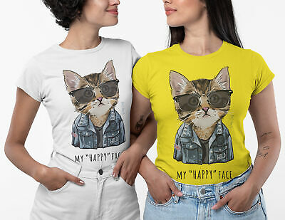 £7.99 • Buy My Happy Face Ladies Cat T-shirt Women Girls White Daisy Tee Top Size S-2XL