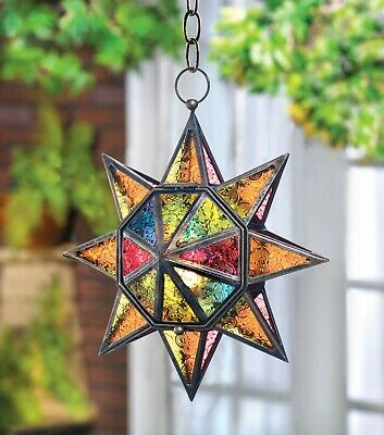 $36.98 • Buy Large Multi Color Glass Moroccan Style Star Light Hang Candle Lantern 10018326