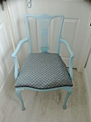CHAIR Carver French Style Shabby Chic Duck Egg Blue, Antique Upholstered • 40£
