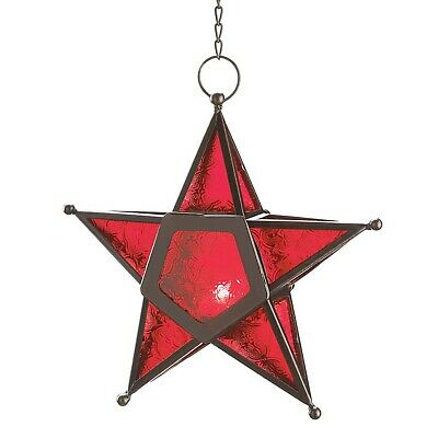 $20.88 • Buy Red Glass Moroccan Style Star Light Hanging Candle Lantern Sculpture 12288