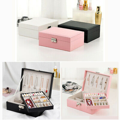 AU21.80 • Buy Large Jewellery Box Rings Necklace Earring Storage Organiser Travel Case 2 Layer