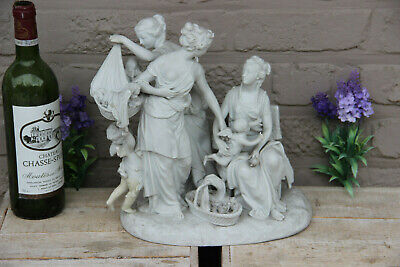 $ CDN911.79 • Buy Large Antique 19thc Sevres Marked Bisque Porcelain Lady Putti Group Statue