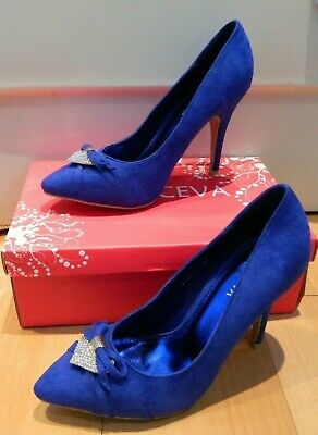 Women's Krasceva Electric Blue High Heel Shoes With Diamonte Front Size 6 • 10£