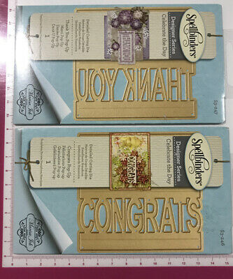 AU15 • Buy 2x Spellbinders POP-UP Dies Congrats & Thank You Sets~2 For The Price Of 1 SALE