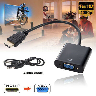 HDMI To VGA With Audio Output Cable Converter Adapter Lead For PS3 Xbox HDTV PC • 3.68£
