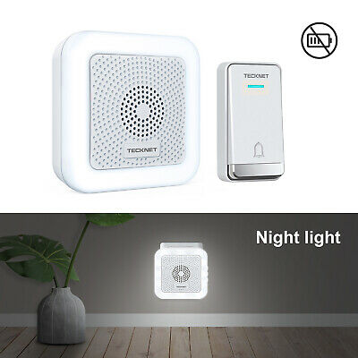 TECKNET Self-Powered Wireless Door Bell UK Plug LED Night Light Door Chime Kit • 13.99£