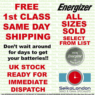 £1.99 • Buy Energizer Silver Oxide Watch Battery 1.55v ALL SIZES OF WATCH BATTERIES - FAST!!
