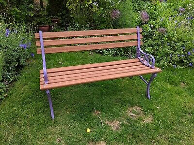 Up-Cycled Wrought Iron Garden Bench With Sapele Slats  • 145£