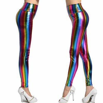 AU9.85 • Buy Womens 80s Retro Metallic Leggings Shiny Disco Pant Fancy Dress Costume Outfit