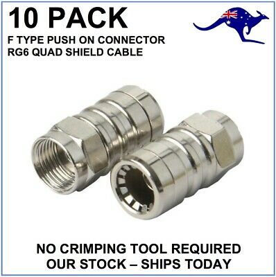 AU12 • Buy 10 X RG6 Quad Push On Connector F Type TV Antenna Coax Coaxial Cable Toolless