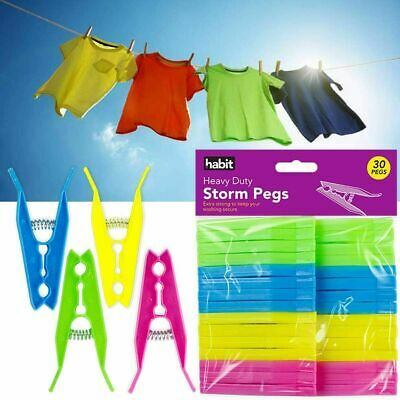 Storm Pegs  Extra Strong Grip Clothes Heavy Duty Wind Resistant Washing Laundry  • 3.99£