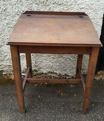 Retro Wooden Child's School Desk With Hinged Lid, Sloping Top & Inkwell Holes • 35£