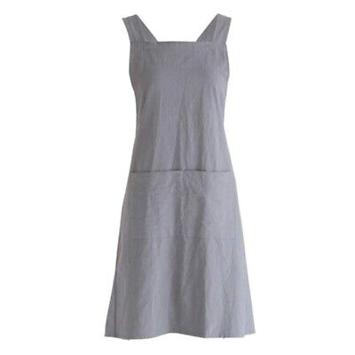 Linen Cross Back Cooking Apron Suitable For Ladies And Men With Pockets Cu F4A8 • 9.90£