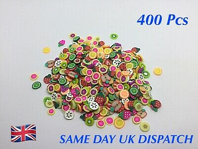 400 X Polymer Clay Mixed Summer Fruits Flat Embellishments Card Crafts Jewellery • 2.89£