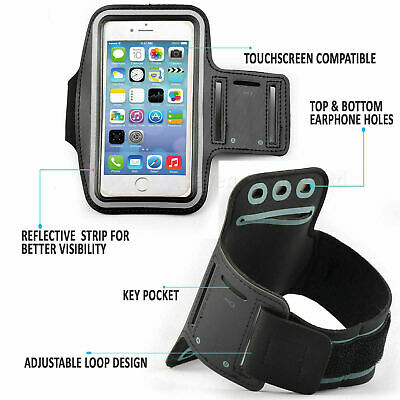 Running Armband Mobile Phone Holder 5.5  For IPhone X 11  Strap Jogging Gym Blue • 2.99£