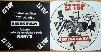 NEAR MINT! ZZ TOP BREAKAWAY Shaped VINYL Picture Pic Disc + Insert NM EX+ • 16.89£
