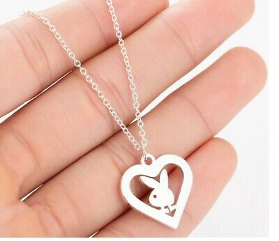 £4.29 • Buy Bunny Rabbit Pendant Necklace Sterling Silver Colour Chain Playboy