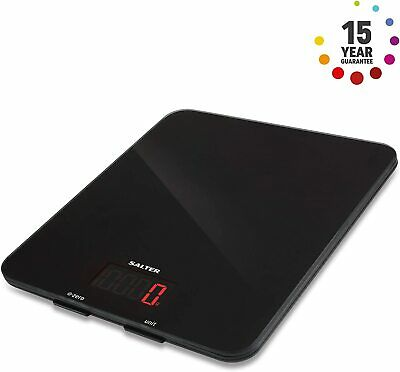 Salter Digital Kitchen Weighing Scales – Stylish Black Glass Easy To Clean J3 • 14.99£
