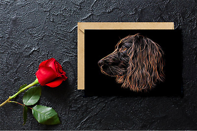 £3.50 • Buy Chocolate Working Cocker Spaniel Greeting Card With Fractal Art Design