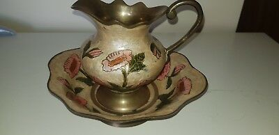 Beautiful Painted/ Enamelled Polished Solid Brass Bowl And Pitcher • 7.49£