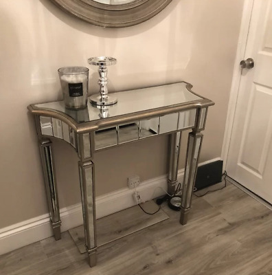 £249.90 • Buy Modern Glass Console Table Venetian Mirrored Furniture French Silver Hallway