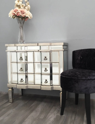 Venetian Mirrored Sideboard Antique French Cabinet Glass Chest Drawers Furniture • 299.90£