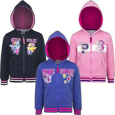 Girl's MY LITTLE PONY Zip Up Hoodie In 3 Styles/Colours - Sizes 2-8 Years • 11.95£