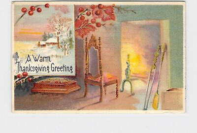 £3.01 • Buy Ppc Postcard Warm Thanksgiving Greeting Chair Next To Fireplace