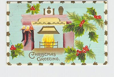 £3.62 • Buy Ppc Postcard Christmas Greetings Stockings Next To Fire Place Holly Gold Embosse