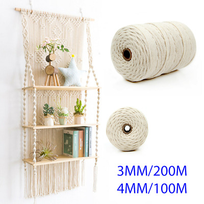 AU16.95 • Buy 3/4 Mm Natural Macrame Rope Beige Cotton Twisted Cord Artisan Hand Craft
